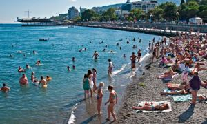 Yalta waterfront beach in summer