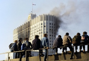 Young people watch military attack at House of Soviets of Russian Federation